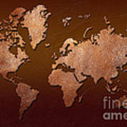 Leather World Map Art Print by Zaira Dzhaubaeva