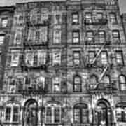 Led Zeppelin Physical Graffiti Building In Black And White Art Print