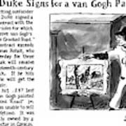 Lefty Duke Signs For A Van Gogh Painting Art Print