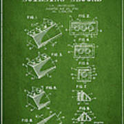 Lego Toy Building Blocks Patent - Green Art Print by Aged Pixel