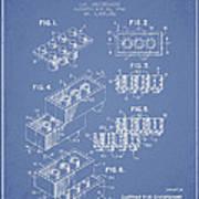 Lego Toy Building Brick Patent - Light Blue Art Print