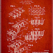 Lego Toy Building Brick Patent - Red Art Print