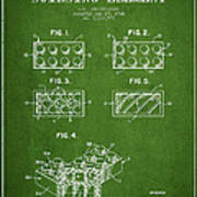 Lego Toy Building Element Patent - Green Art Print by Aged Pixel