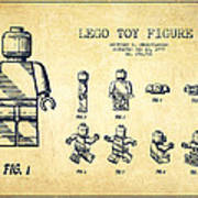 Lego Toy Figure Patent Drawing From 1979 - Vintage Art Print by Aged Pixel