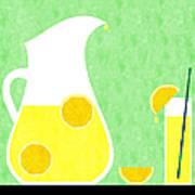 Lemonade And Glass Green Art Print