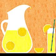 Lemonade And Glass Orange Art Print