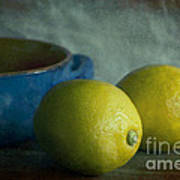 Lemons And Blue Terracotta Pot Print by Elena Nosyreva