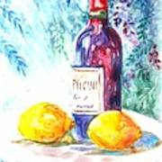 Lemons And Wine And A Little Sunshine Print by Carol Wisniewski