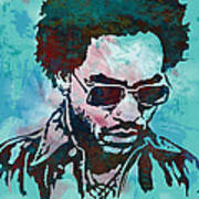 Lenny Kravitz - Stylised Etching Pop Art Poster Print by Kim Wang