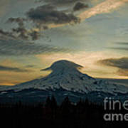 Lenticular Sunset On Mount Hood Art Print by Cari Gesch