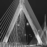 Leonard P. Zakim Bunker Hill Memorial Bridge Bw Art Print