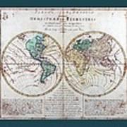 Leonhard Euler World Map 1760 Ad With Matching Grey Aqua Small Border Art Print