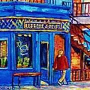 Les Belles Soeurs  Montreal Restaurant Plateau Mont Royal Painting By Carole Spandau Art Print