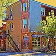 Les Saveurs Cafe Resto Grillades Tapas Petit Dejeuner Montreal French Cafe City Scene Carole Spandau Art Print