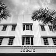 Leslie Hotel South Beach Miami Art Deco Detail - Black And White Art Print by Ian Monk
