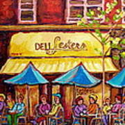 Lester's Deli Montreal Smoked Meat Paris Style French Cafe Paintings Carole Spandau Art Print