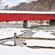 Connecticut Covered Bridge Snow Scene By Thomasschoeller.photography  Art Print