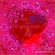 Let The Music Fill Your Soul Pink Art Print