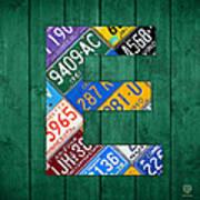Letter E Alphabet Vintage License Plate Art Art Print