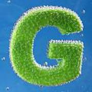 letter G underwater with bubbles  Art Print