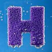 letter H underwater with bubbles  Art Print