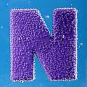 letter N underwater with bubbles  Art Print