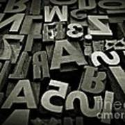 Letters And Numbers Gray Tones Art Print