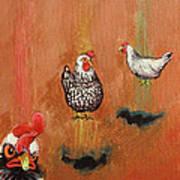 Levitating Chickens Art Print