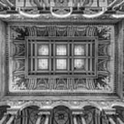 Library Of Congress Main Hall Ceiling Bw Art Print