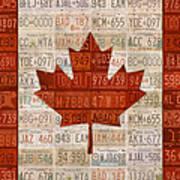 License Plate Art Flag Of Canada Art Print