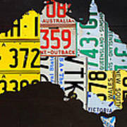 License Plate Map Of Australia Art Print