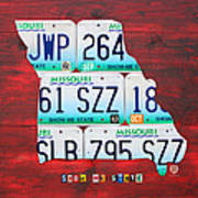 License Plate Map Of Missouri - Show Me State - By Design Turnpike Art Print by Design Turnpike