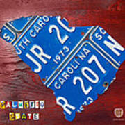 License Plate Map Of South Carolina By Design Turnpike Art Print