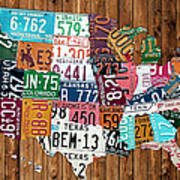 License Plate Map Of The United States - Warm Colors On Pine Board Art Print by Design Turnpike