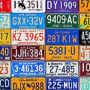 License Plates Of The Usa - Our Colorful American History Art Print
