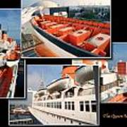 Life Boats Collage Queen Mary Ocean Liner Long Beach Ca Art Print