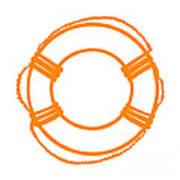 Life Preserver In Orange And White Art Print
