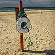 Life Preserver On The Beach In Pentwater Michigan Art Print