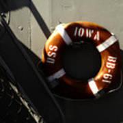 Life Ring Uss Iowa Battleship Sepia Art Print