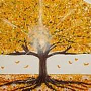 Life Tree-lit Autumn Tree With Yellow Leaves Art Print
