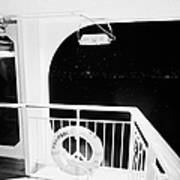 lifebelt on board the hurtigruten ship ms midnatsol at night in winter in Tromso troms Norway Art Print by Joe Fox