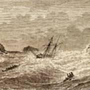 Lifeboat Approaching A Wreck Art Print