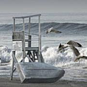 Lifeguard Station With Flying Gulls At A Lake Huron Beach Art Print