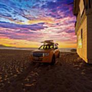 Lifeguard Tower Sunset Art Print