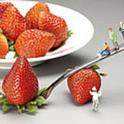 Lifting Strawberry By A Fork Lever Food Physics Art Print