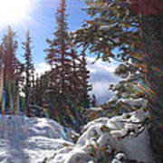 Sunburst Banff Mountain Top Calgary Canada. Art Print