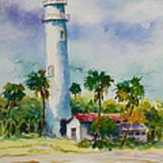 Light House At The Beach Art Print