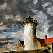 Light House In A Storm Art Print