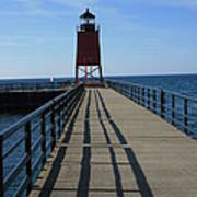 Light House In Charlevoix Mich Art Print