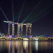 Light Show At Marina Bay Sands Hotel And Casino II Art Print